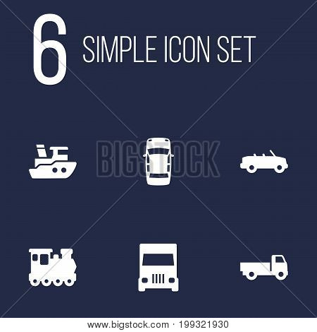 Collection Of Coupe, Lorry, Truck And Other Elements.  Set Of 6 Shipping Icons Set.
