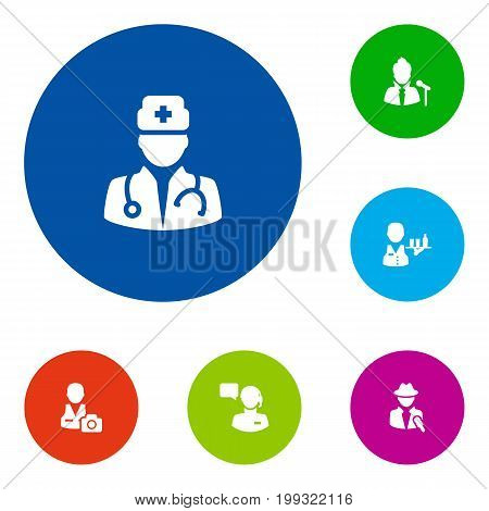Collection Of Journalist, Cameraman, Medic And Other Elements.  Set Of 6 Position Icons Set.