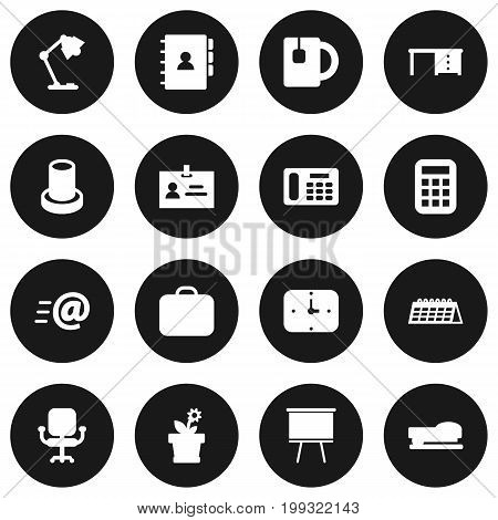 Collection Of Case, Date, Sew And Other Elements.  Set Of 16 Bureau Icons Set.