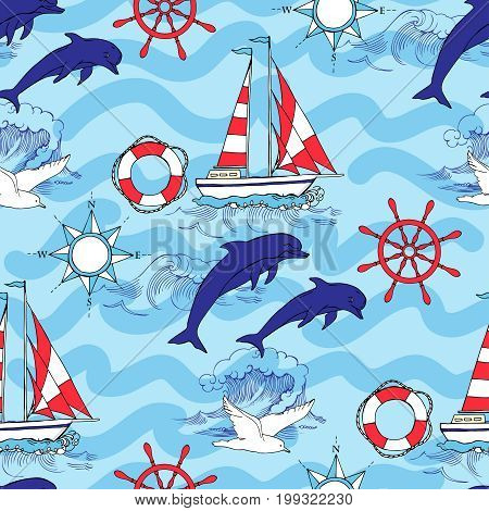 Nautical seamless pattern with ships and wheel, sailing boats,  dolphin and sea knots. Hand drawn elements for summer holidays.Travel, sea and ocean. Vector Illustration