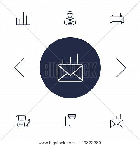 Collection Of Printing Machine, Agreement, Chart And Other Elements.  Set Of 6 Cabinet Outline Icons Set.
