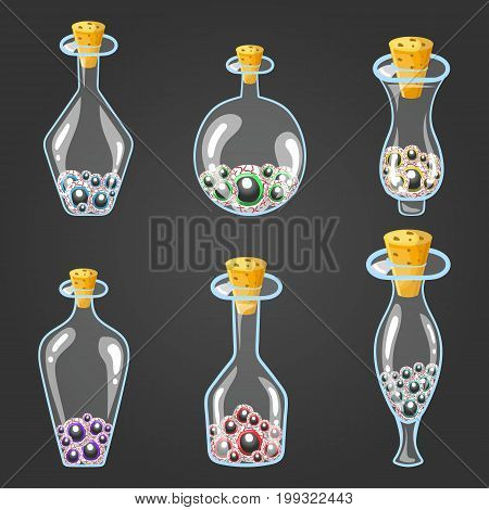 Big set of bottle elixir with eyes. Game design illustration