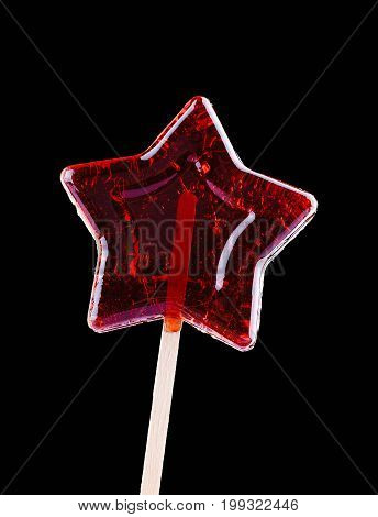 Star Shaped Lollipop On Black