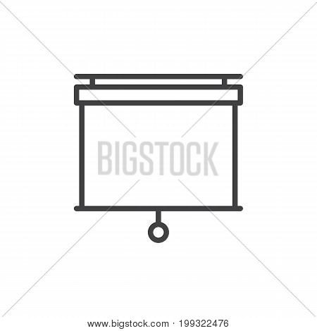 Pull down projector screen line icon, outline vector sign, linear style pictogram isolated on white. Presentation white screen symbol, logo illustration. Editable stroke. Pixel perfect vector graphics