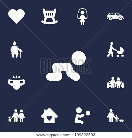 Collection Of Creep Baby, Cot, Girl And Other Elements.  Set Of 13 People Icons Set.