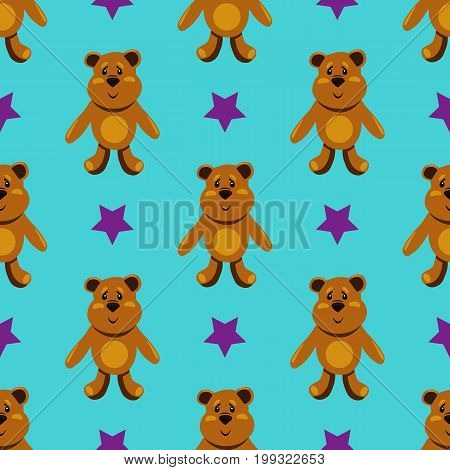 seamless pattern with childrens teddy bears illustration for children