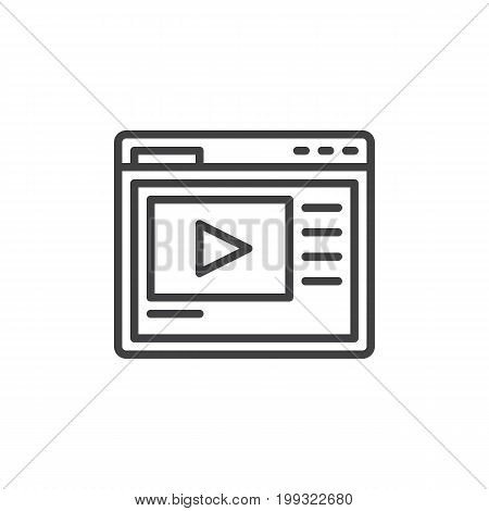 Video hosting website line icon, outline vector sign, linear style pictogram isolated on white. Symbol, logo illustration. Editable stroke. Pixel perfect vector graphics