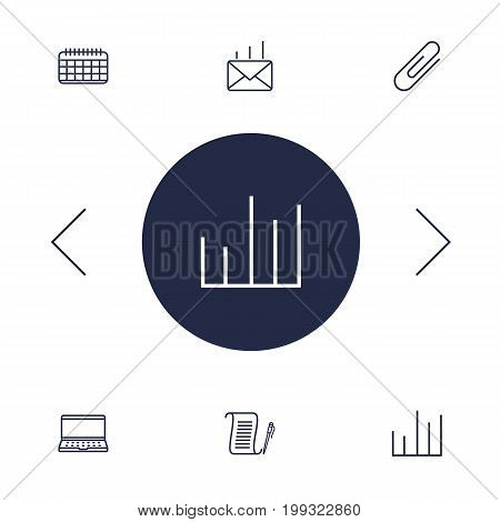 Collection Of Agreement, Chart, Date And Other Elements.  Set Of 6 Cabinet Outline Icons Set.