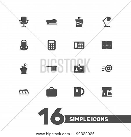 Collection Of Airchair, Flower, Illuminator And Other Elements.  Set Of 16 Bureau Icons Set.