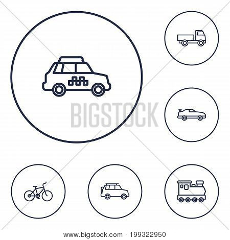 Collection Of Suv, Bike, Coupe And Other Elements.  Set Of 6 Shipping Outline Icons Set.