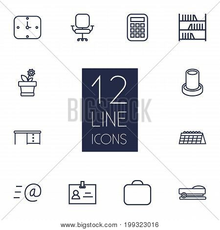Collection Of Calculator, Flowerpot, Staple And Other Elements.  Set Of 12 Office Outline Icons Set.
