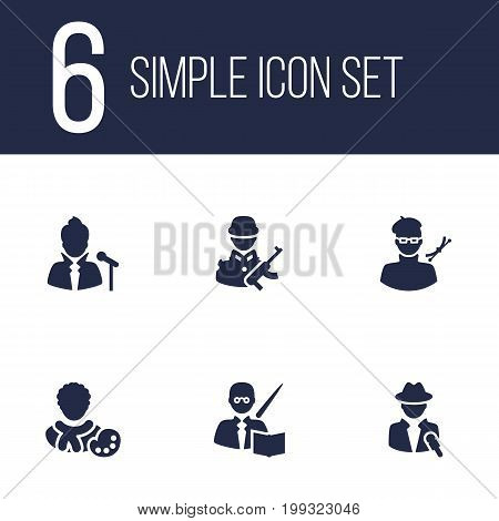 Collection Of Actor, Leaner, Journalist And Other Elements.  Set Of 6 Professions Icons Set.