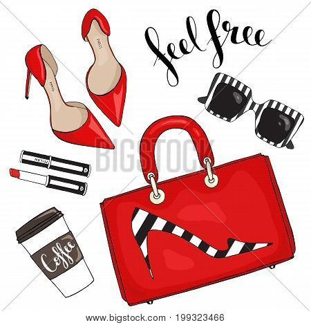 Bag with a picture of shoes, glasses, lipstick and cup of coffee on a white background with the inscription feel free.