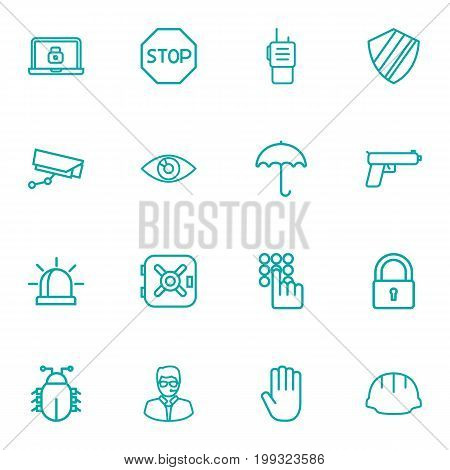 Collection Of Protection , Bodyguard, Hand Elements.  Set Of 16 Procuring Outline Icons Set.