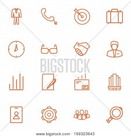 Collection Of Glasses, Suit, Portfolio And Other Elements.  Set Of 16 Management Outline Icons Set.