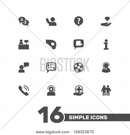 Collection Of Support, Reception, Speaker And Other Elements.  Set Of 16 Maintenance Icons Set.