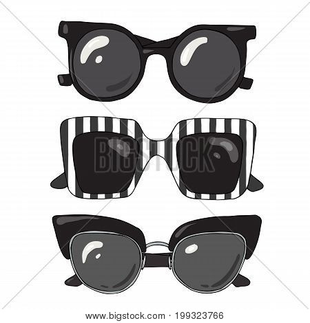 Set of fashionable stylish sunglasses on a white background.