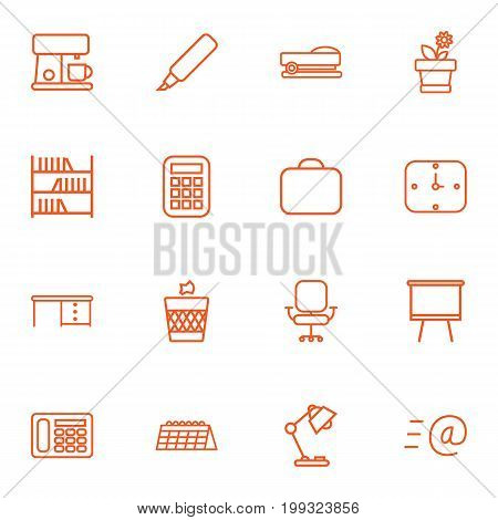Collection Of Flowerpot, Briefcase, Calendar And Other Elements.  Set Of 16 Bureau Outline Icons Set.