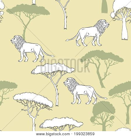 Seamless Pattern with Lion and savanna trees. Hand drawn sketches. Vector Illustration