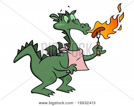 dragon heating up his lunch by breathing fire on a sausage poster
