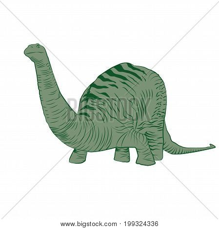 Vector - Apatosaurus Line Drawing Sketch Green