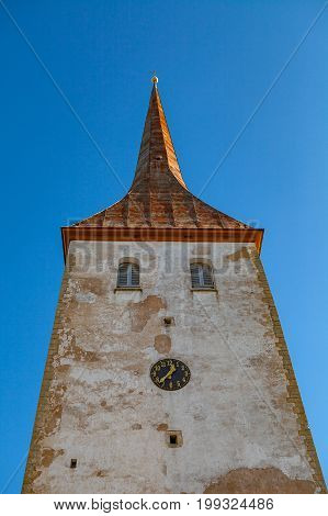 Tower with clock of St. Trinity Church in Rakvere, Estonia