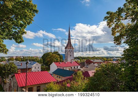 St. Trinity Church and old town of Rakvere, Estonia. Green summer time