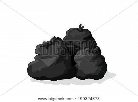 Black rubbish bags. Vector illustration rubbisg dirt