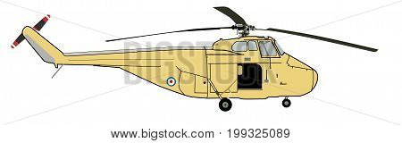 Vector - Coastguard Yellow Helicopter Sketch Illustration