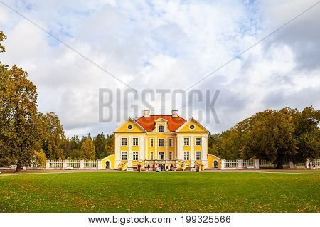 PALMSE, ESTONIA - 22 SEP 2015. Front view of beautiful and rich Palmse Manor in Estonia, popular destination for tourists