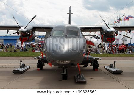 Moscow Region - July 21 2017: Twin-engine turboprop aircraft L-410 at the International Aviation and Space Salon (MAKS) in Zhukovsky. Front view.
