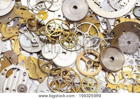 Background From Many Used Watch Spare Parts