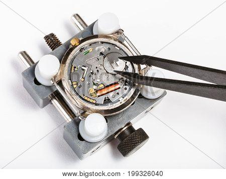 Replacement Battery In Quartz Watch With Tweezers