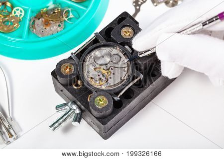 Repairing Old Mechanical Watch Close Up On Table