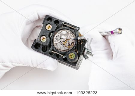 Repairing Of Mechanical Watch With Screwdriver