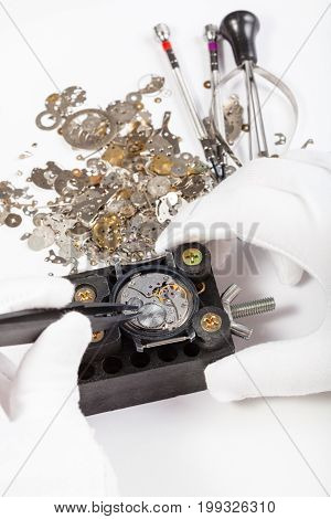 Repair Of Mechanic Watch With Spare Parts