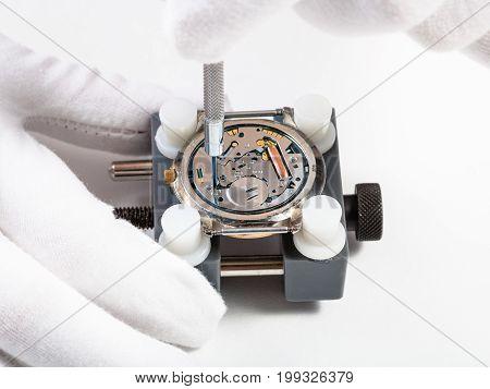 Repairing Quartz Wristwatch Close Up