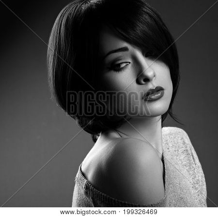 Beautiful Makeup Sexy Woman With Short Hair Style Hot Lips And Nude Shoulder On Dark Shadow Backgrou