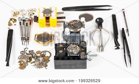 Watch Repairing Tools On White Background