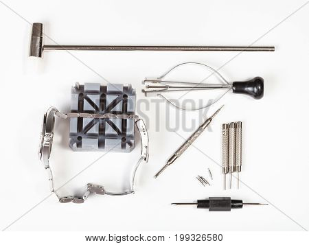 Top View Of Tool Kit For Adjusting Watchband