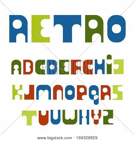 retro font colorful letters style of the 70s. Capital letters of the Latin alphabet