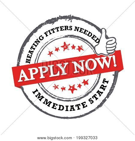 Hitting fitters needed - Apply now! immediate start  -  Job advertising / Job offer - Grunge label. Print colors used poster