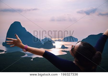 Asian women travel sleep relax. archipelago Andaman sea Morning atmosphere Sun rises. Asia Thailand