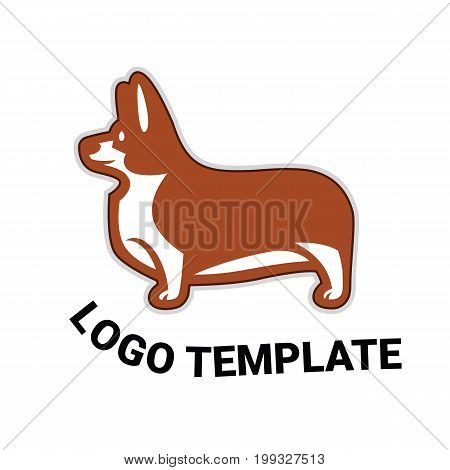Sign template with stylized vector drawing of a dog Welsh Corgi breed standing in profile
