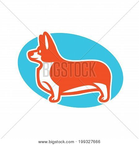 Colorful vector drawing of standing in profile dog Welsh Corgi breed