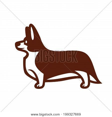 Stylized vector drawing of a dog Welsh Corgi breed standing in profile