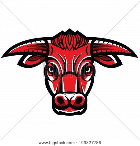 Vector drawing of the head of powerful horned bull