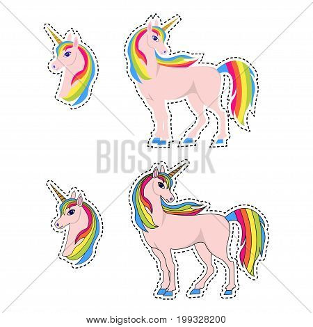 Unicorn illustration with rainbow hair, isolated on white. Cute magic cartoon fantasy cute animal.  Dream symbol. Design for children. Set of fashion patches, cute colorful badges, unicorns icon.
