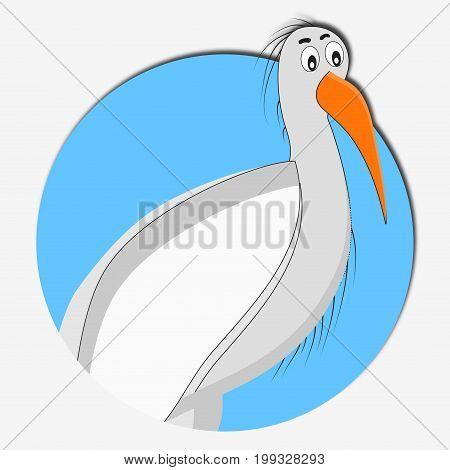 Stork icon animal. Stork baby vector illustration. stork cartoon