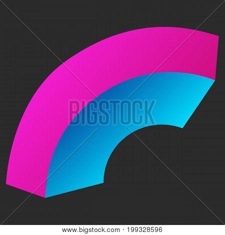 Arc Bend Box. Connection Structure. Digital Data Visualization Concept. Vector Illustration.